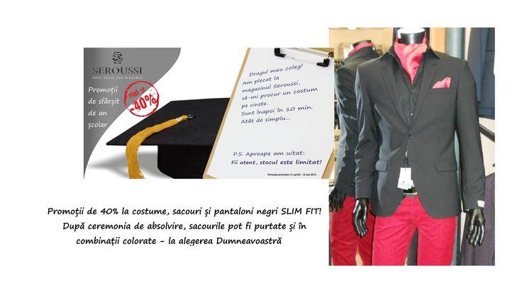 Promoții de 40% la costume, sacouri și pantaloni negri SLIM FIT! După ceremonia de absolvire, sacourile pot fi purtate și în combinații colorate - la alegerea Dumneavoastră