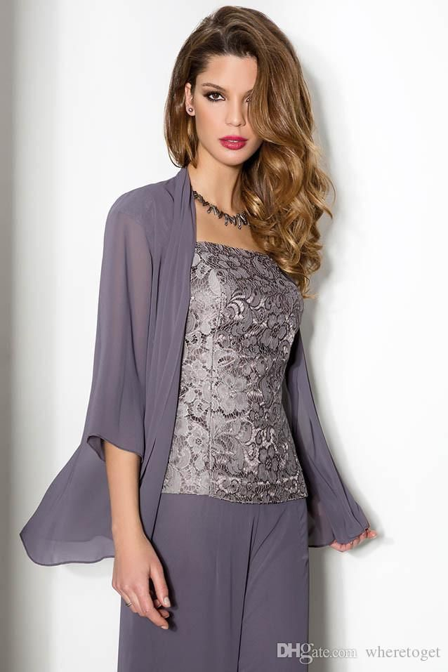 2015 Summer Lace Chiffon Mother Of The Bride Pant Suits Spaghetti Straps With Long Sleeve Jacket Mother Of The Bride Trousers