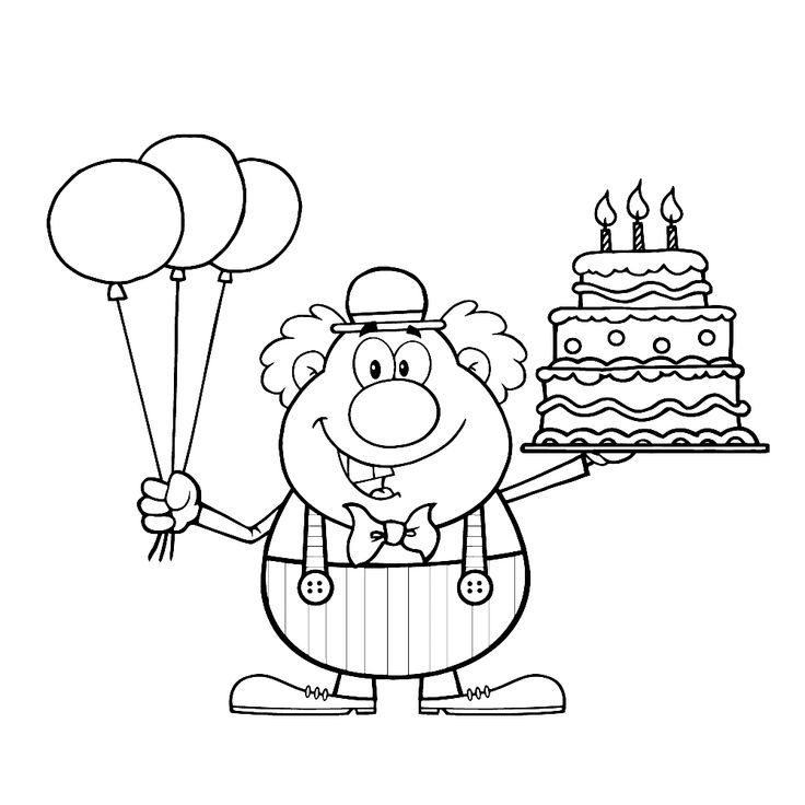 een clown met ballonnen en taart kleurplaten