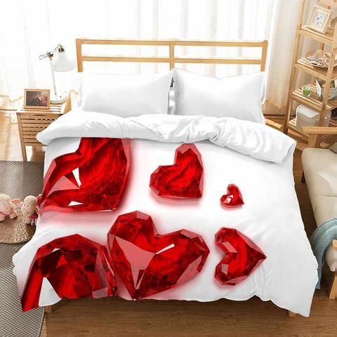 Ensemble de literie 3D romantique avec des coeurs rouges