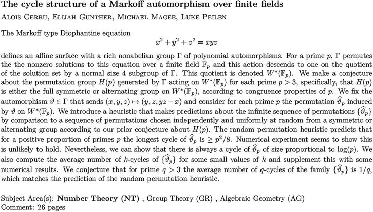 The cycle structure of a Markoff automorphism over finite fields  #Adelering #Algebraicnumbertheory #mathematics #nonzerosolutions #Profiniteinteger #Projectivegeometry #Space Check more at https://scifeeds.com/social-media-item/the-cycle-structure-of-a-markoff-automorphism-over-finite-fields/