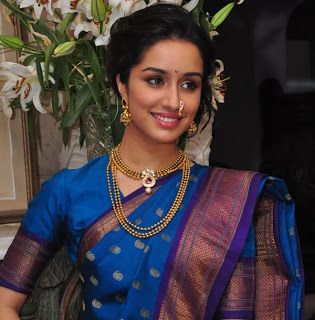 Bollywood Actress Shraddha Kapoor Latest Photoshoot In Blue Marathi Saree