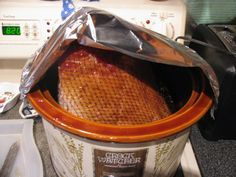 Honey Baked Spiral Ham in Crockpot...duh! Will be doing this from now on!