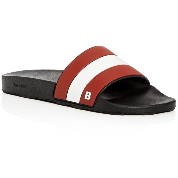 Bally Sleter Pool Slide Sandals ($175) ❤ liked on Polyvore featuring men's fashion, men's shoes, men's sandals, mens leopard print shoes, bally mens shoes, mens summer shoes and mens summer sandals