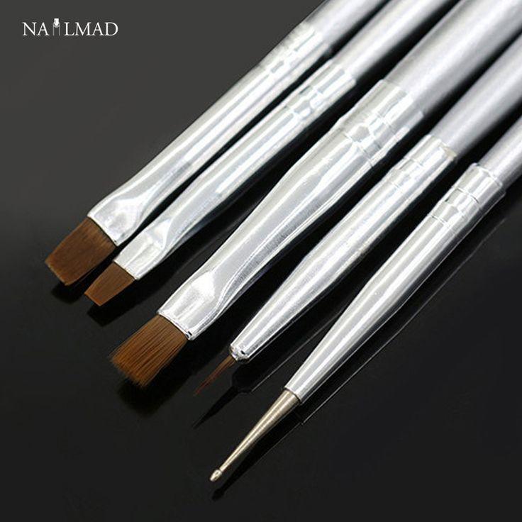 5Pcs Nail Brush Set Nail Art UV Gel Salon Pen Nail Art  Pen Set Painting Dotting Pen Brush Kit Tool