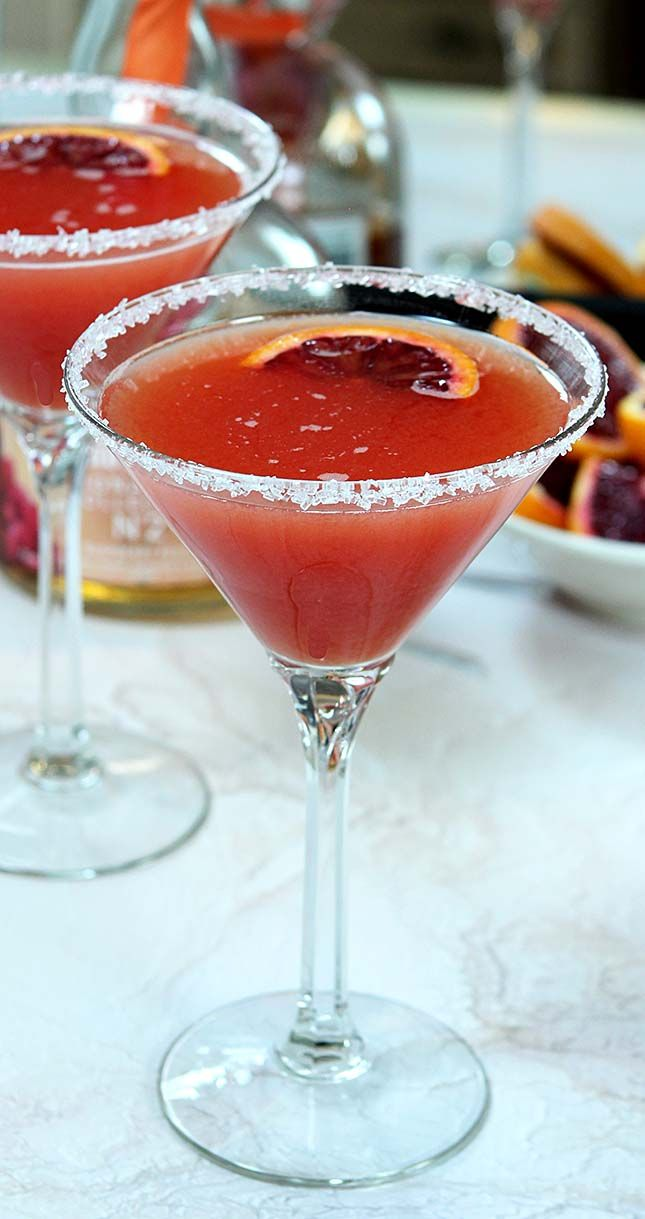 This Blood Orange Cosmopolitan is a great cocktail to use the best of winter oranges. From Creative-Culinary.com