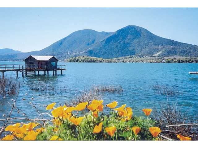 Beautiful Clear Lake California... The largest natural lake in California... Clearlake was once an active volcano. It has a natural spring in the middle of the lake that's just like a hot tub. It's the craziest thing ever all surrounded by trees... Pretty cool!