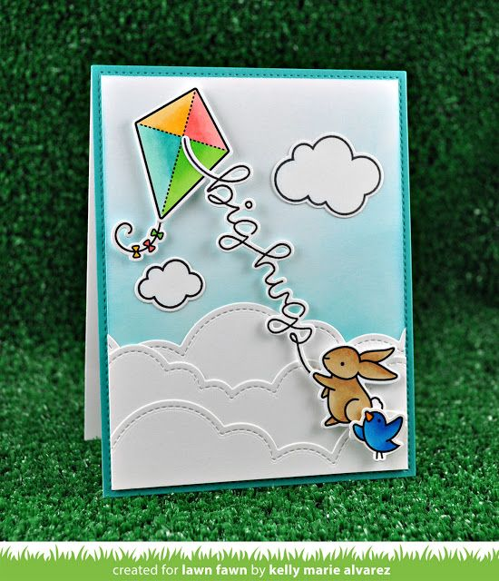 Lawn Fawn - Yay Kites!, Big Scripty Words, Puffy Cloud Borders, Stitched Rectangle Borders, Peacock cardstock _  card by Kelly Marie for Lawn Fawn Design Team