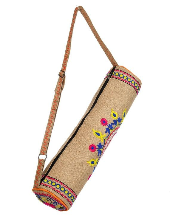 Beautiful Indian yoga bag embroidered jute fabric hand. Lining and zipper. adjustable handle.