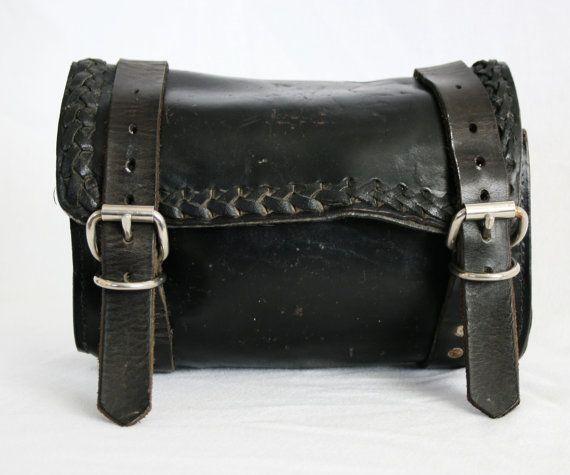 Vintage Black Leather Motorcycle Tool Bag by vintagefindsetcetera, $75.00
