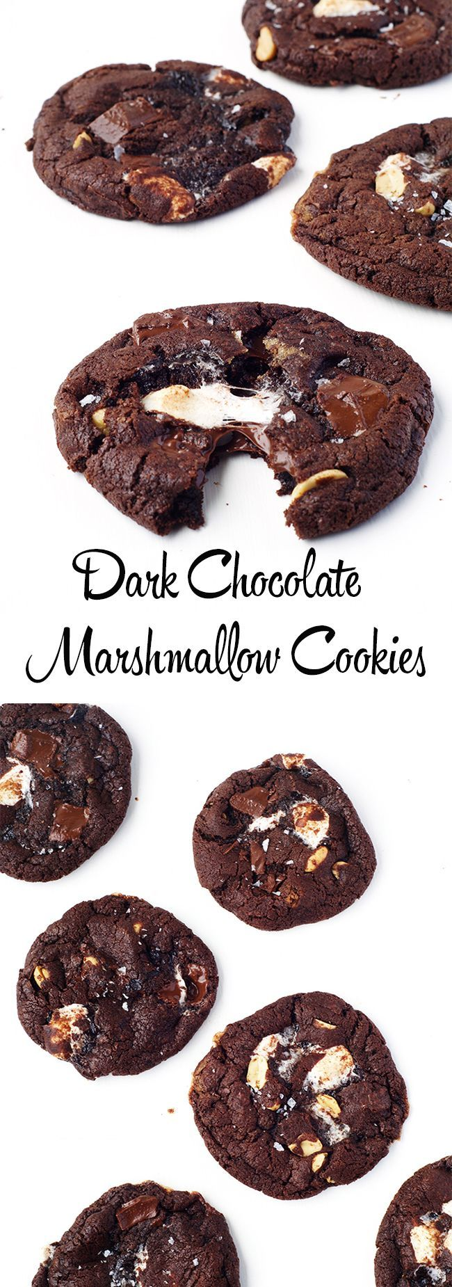 Dark Chocolate Marshmallow Cookies | via sweetestmenu.com