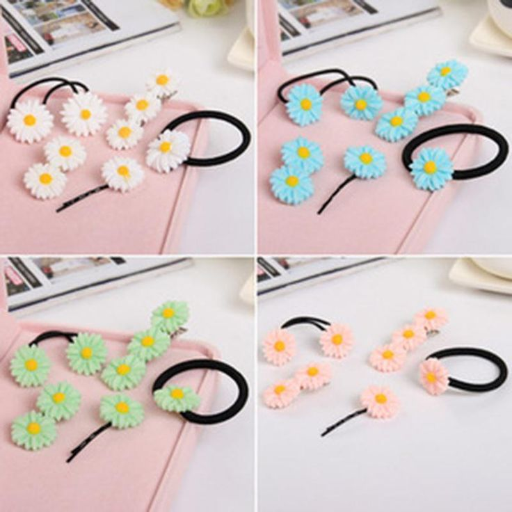 Vivid Daisy Flower 3 Colors Different Types of Headwear Hair Cips Elastic Band Barrettes for Girls Hair Accessories for Women