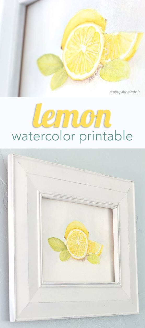 Download this free watercolor printable art on Capturing-Joy.com!  Perfect pop of color to your kitchen decor!