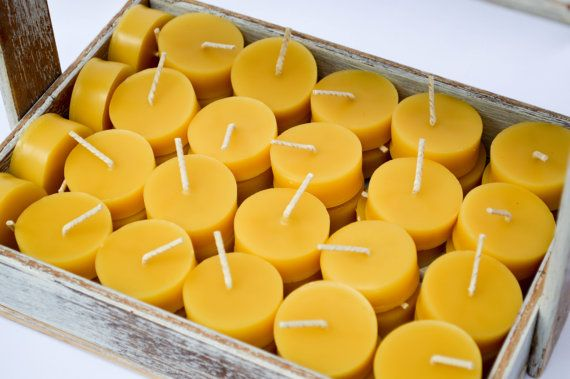 Beeswax Tea Light Candles. Hand Made From by WhoTheDickens on Etsy