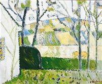 Grønt gult landskab by Poul Ekelund