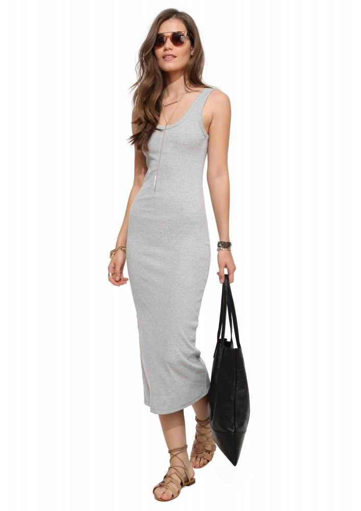 Long Ribbed Beater Midi Dress in Heather grey | Necessary Clothing