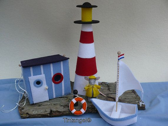Mouse goes to the sea  Cabin Ligthhouse and Boat DIY kit