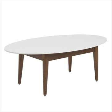 Eurostyle Manon Oval Coffee Table in White and Dark Walnut - traditional - Coffee Tables - Cymax