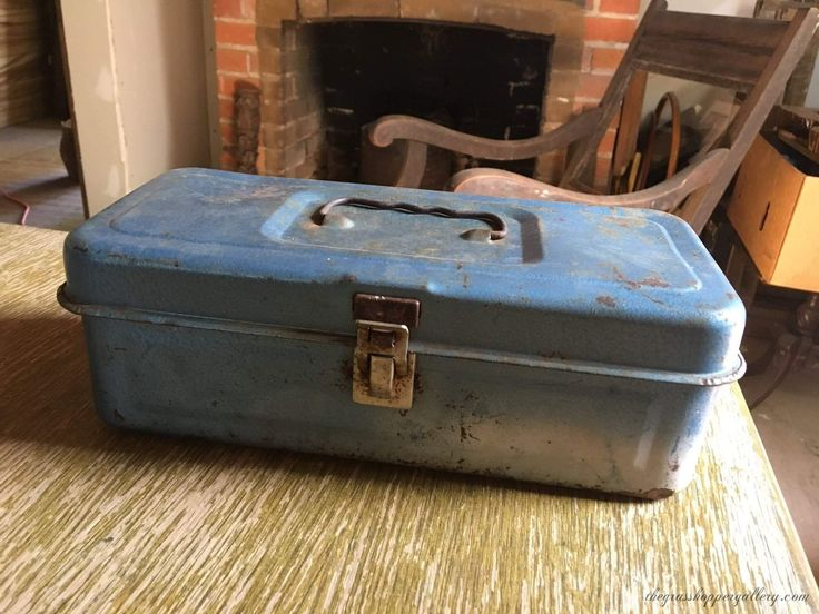 Vintage Blue Hammered Metal Fishing Tackle Box With Inside Tray