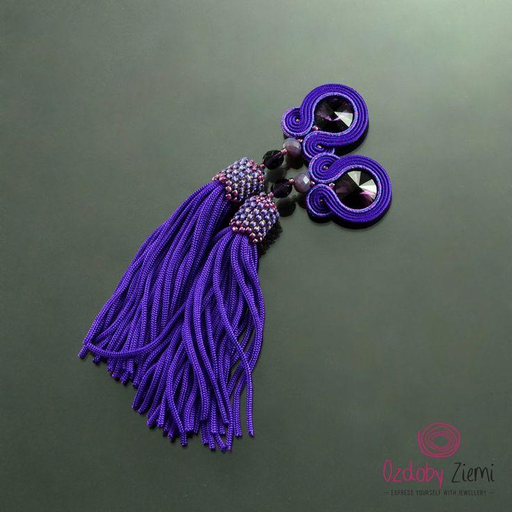 Clip on Tassel Long Purple Boho Soutache Earrings - Long Unique Violet Earrings - Soutache Earrings - Orecchini Soutache - Long Clip Tassels by OzdobyZiemi on Etsy