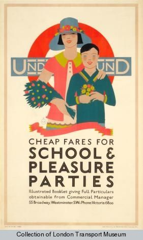 Cheap fares for schools and pleasure parties, by Kate M Burrell, 1928 - Poster and Artwork collection online from the London Transport Museum