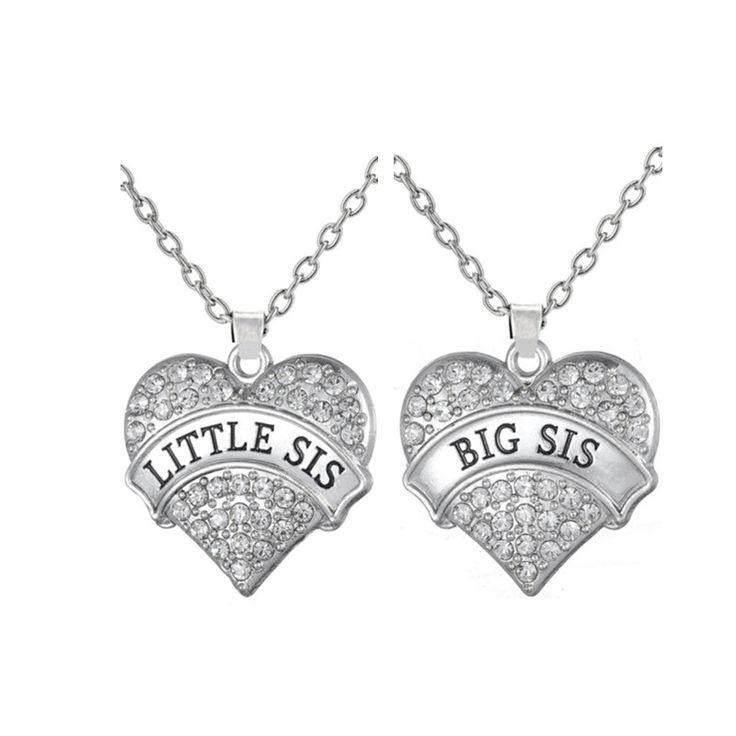 My shape grote sis little sis ketting met grote clear stone hart hanger familie liefde gift kinderen sieraden voor zus(China (Mainland))
