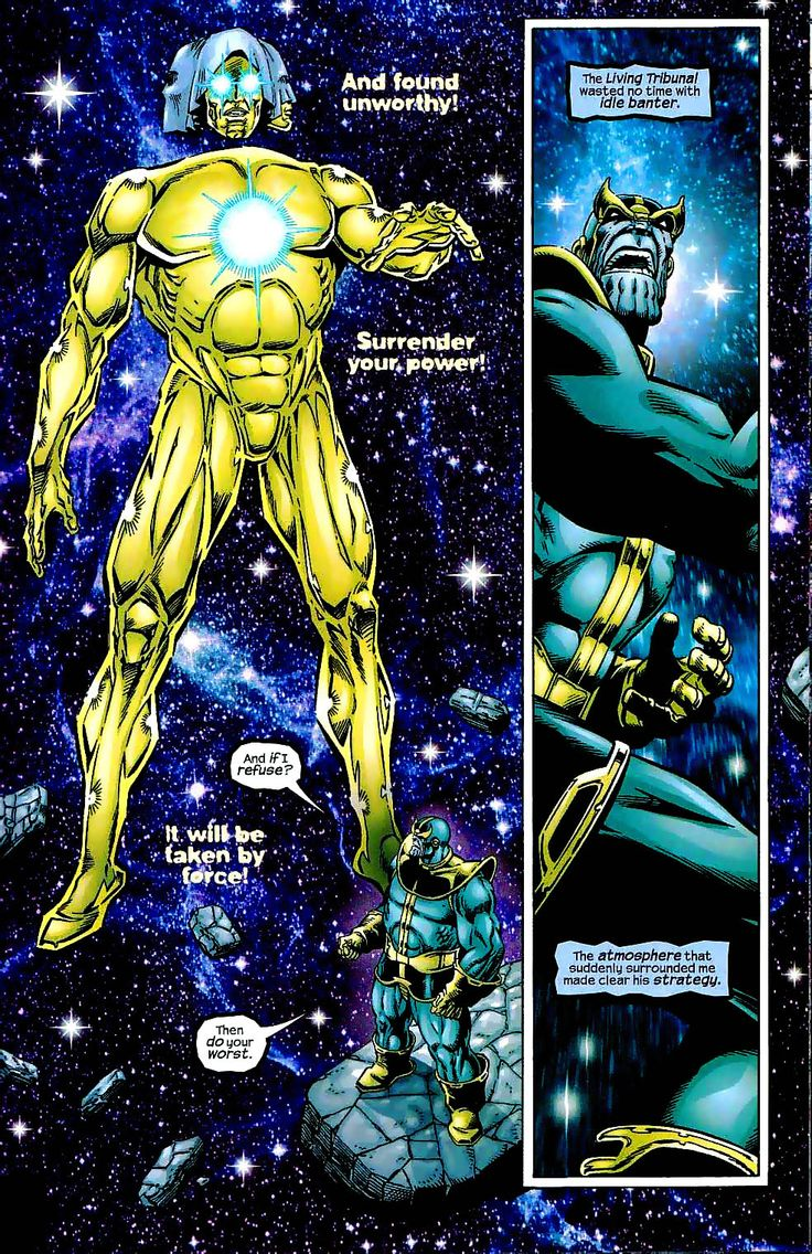 Thanos merges with the Heart of the Universe. A supreme power that makes the Infinity Gauntlet seem like a child's toy. The Living Tribunal sets his eyes on removing that power from Thanos.  Marvel: The End is a six-issue comic book series published in 2003 by Marvel Comics