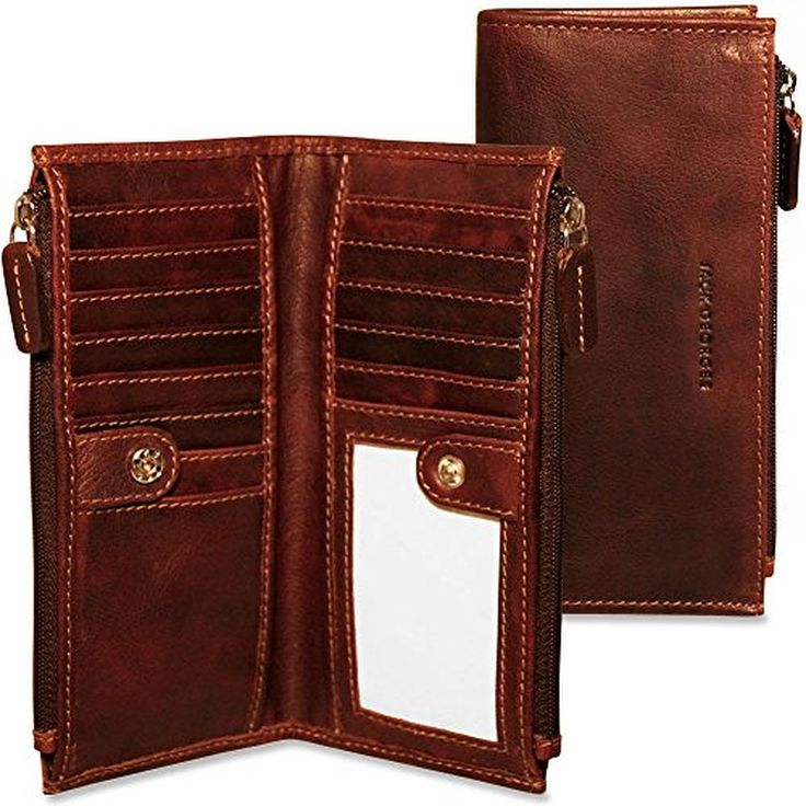 Jack Georges Voyager Collection Slim Double Zip Womens Leather Wallet - Brown