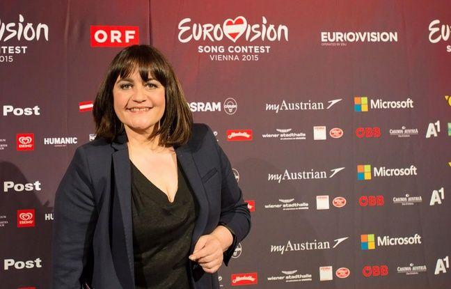 Lisa Angell, qui représente la France à l'Eurovision 2015 (ici avant la conférence de presse, le 17 mai 2015, à Vienne) a créé la surprise à la première répétition : après sa prestation, la candidate française a fait une remontée spectaculaire de onze places chez les bookmakers. Photo SIPA.