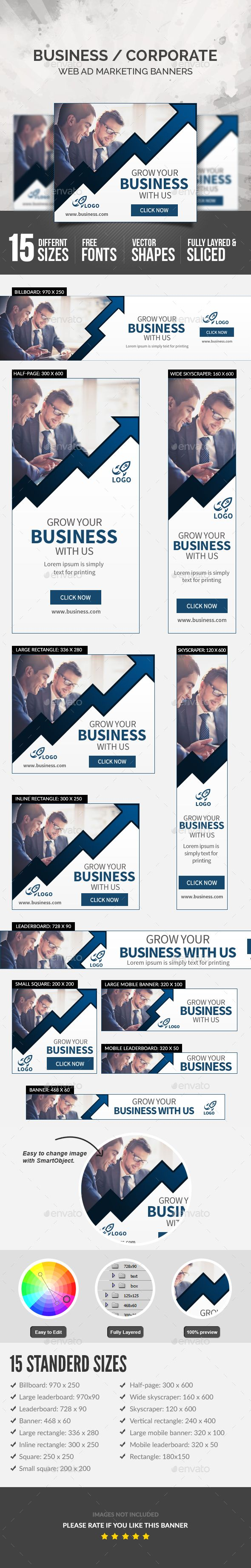 Business Banners — Photoshop PSD #banners #sales • Available here → https://graphicriver.net/item/business-banners/18303553?ref=pxcr