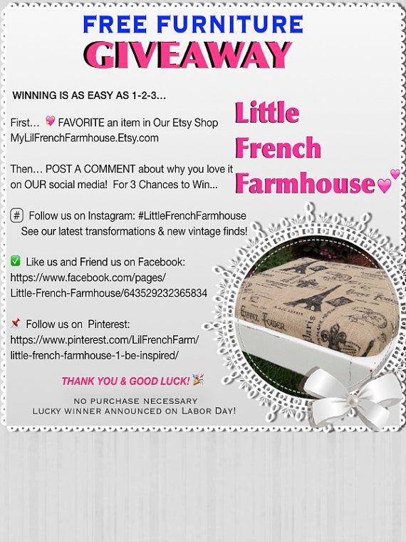 Great Free Furniture GIVEAWAY From By MyLilFrenchFarmhouse On Etsy