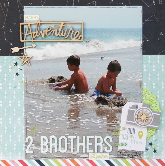 Adventure of 2 Brothers - Scrapbook.com - enlarged photo allows plenty of white space to put title and embellishments right on top.