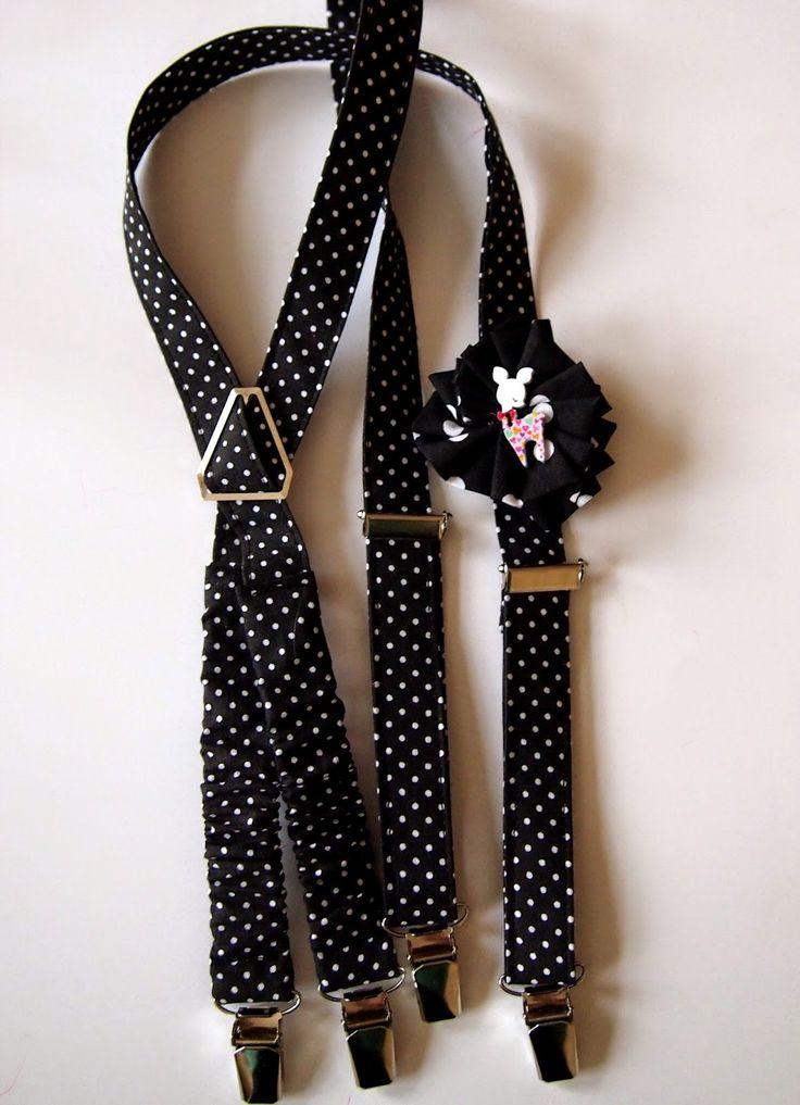 Kšandy pro holky s hromadou puntíků a ozdobnou kytkou (koloušek jako bonus;) / Girl suspenders