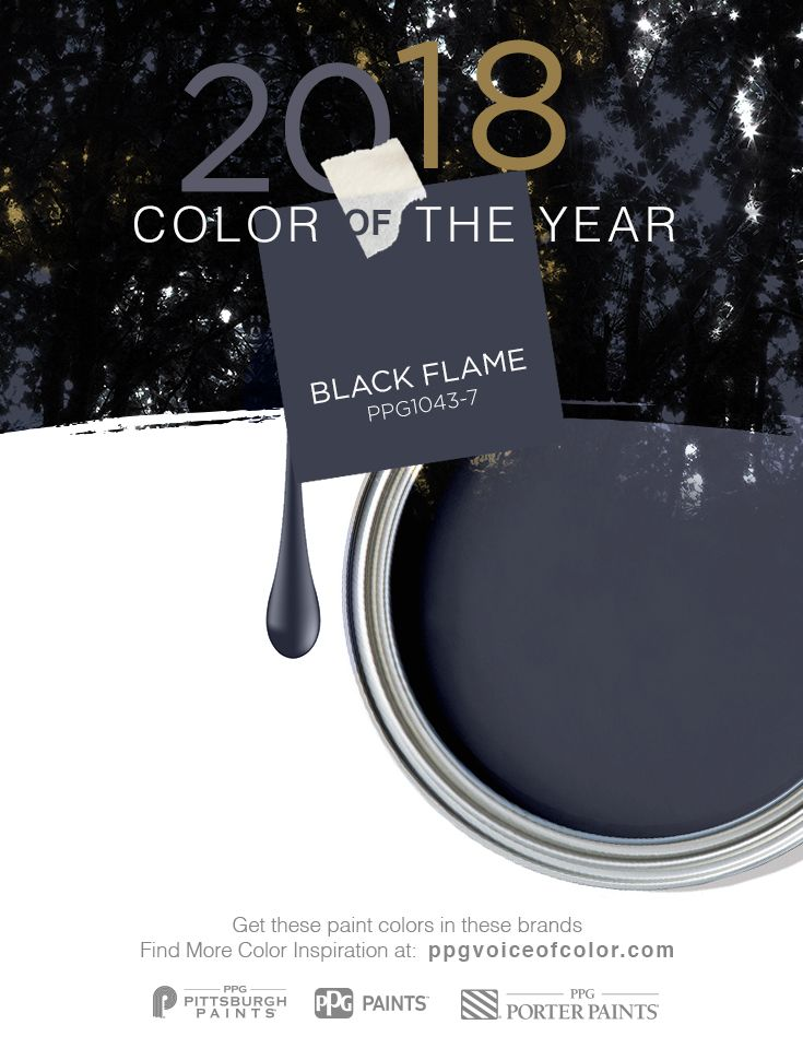 Dress your home in the new neutral, PPG 2018 Color of the Year, Black Flame. This statement-making black paint color, infused with an undertone of the deepest indigo, evokes the privacy, hope and classic modernism that many consumers crave today. Embodying the spirit of a tailored tuxedo or a little black dress, it is dressed-up, coveted, unapologetic and – most importantly – timeless. Try this deep indigo paint color for the walls in your home.