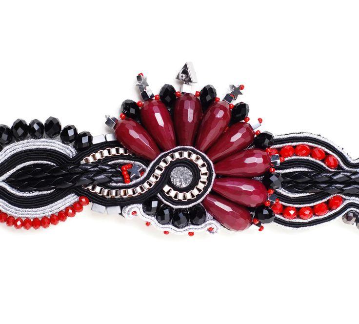 beaded bracelet women soutache jewelry jade bracelet rocker chic statement jewelry handmade black silver red by SixVintageChicks on Etsy