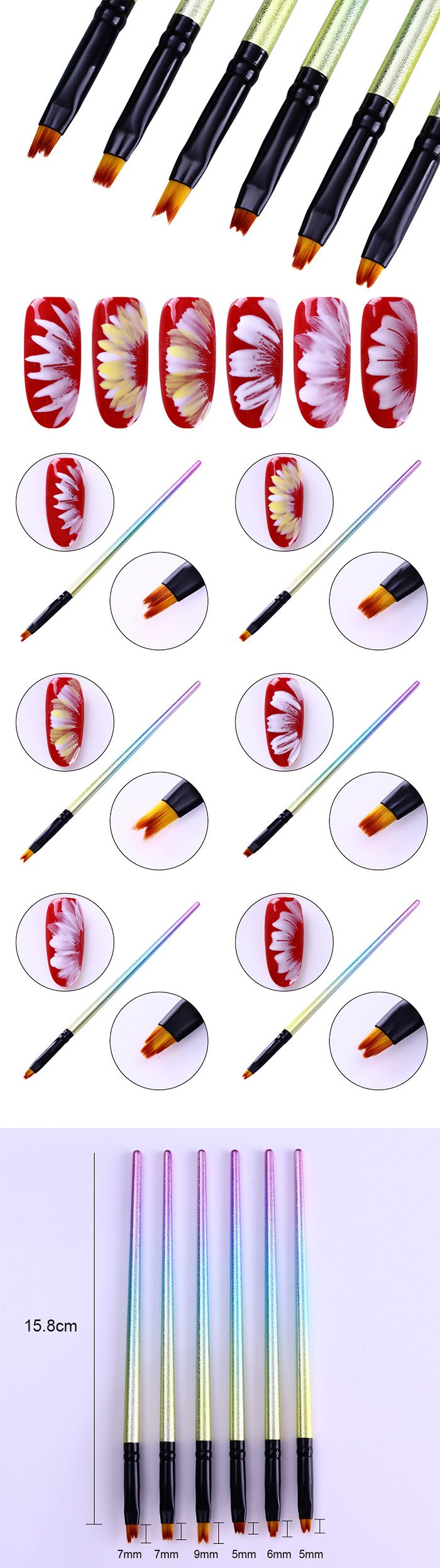 $7.99 6 Pcs Gradient Painting Brush UV Gel Flower Drawing Pen Unicorn Black Handle Manicure Nail Art Tool - BornPrettyStore.com