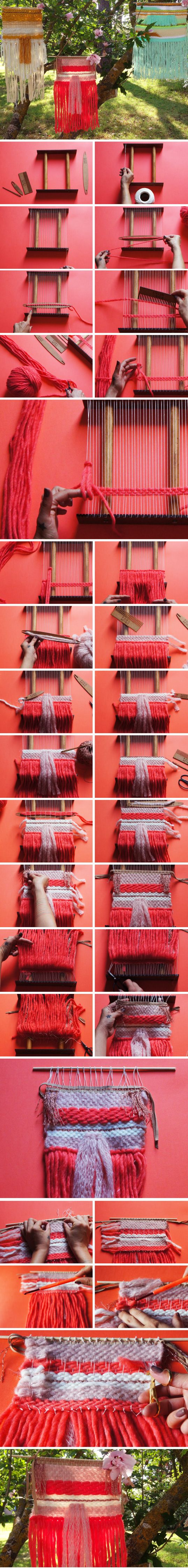 DIY WEAVING tutoriel for beginners stepper and technical weaving kit and accessories available on www.bohometrie.com