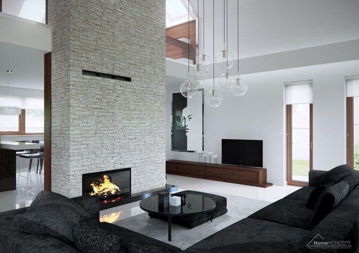 Busca imágenes de diseños de Salas estilo moderno de HomeKONCEPT | Projekty Domów Nowoczesnych. Encuentra las mejores fotos para inspirarte y crear el hogar de tus sueños.