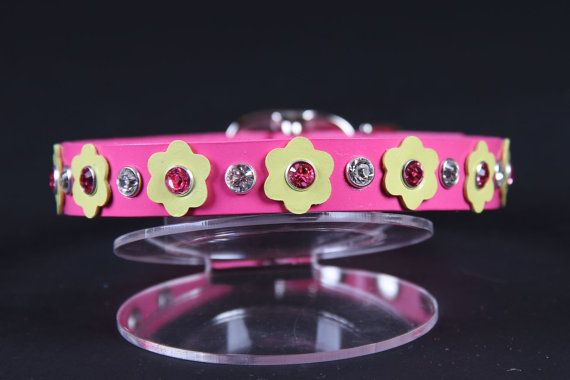 Bubblegum Pink Leather Dog Collar w Pale Yellow by JustForBella, $48.00