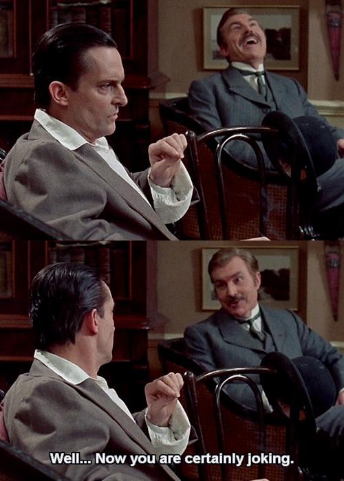 Jeremy brett, David Burke in The Blue Carbuncle. Holmes is dazzling, Watson disbelieving...
