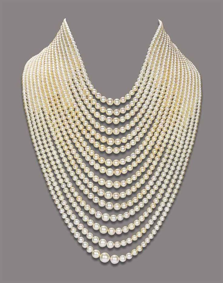 Natural Saltwater Pearl Necklace - Composed of fifteen strands of graduated natural pearls, to the diamond-set bar and chain clasp, mounted in gold - The property of a Royal House - Christie's