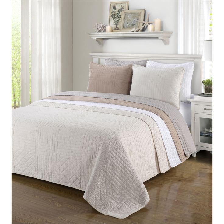 Superior Williams Cotton Stitched 3-piece King/ Cal-King Size Quilt Set in