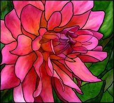 Stained Glass Pink Dahlia