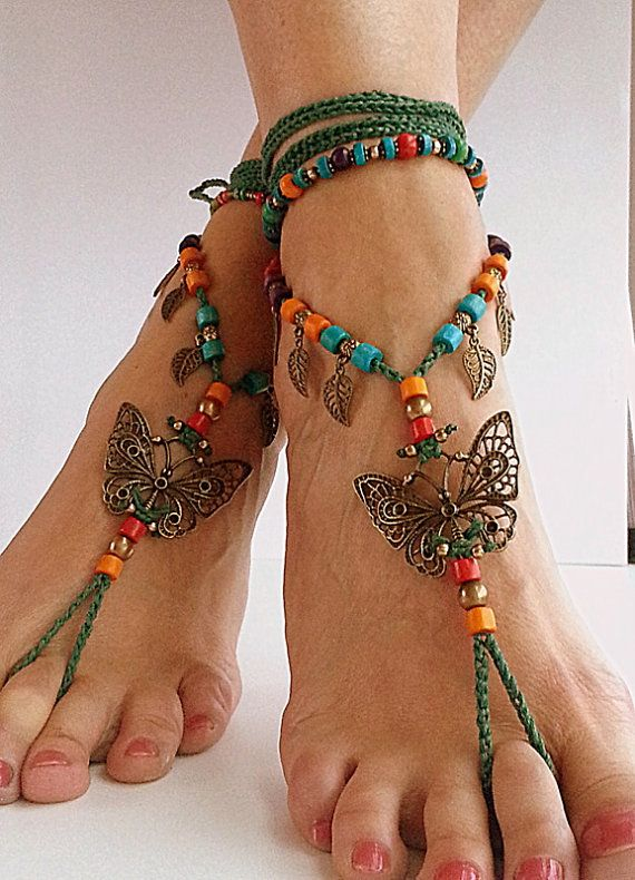 Barefoot sandals butterfly Boho barefoot, beach jewelry bohemian anklet Hippie style Ankle bracelet Crochet anklet Gypsy jewelry Wedding