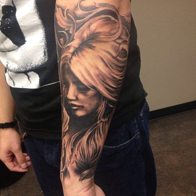 Woman's Face Profile Tattoo