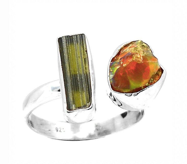 Genuine ETHIOPIAN WELO Opal Rough & Green Tourmaline Rough Gemstones set into 925 Sterling Silver Fashion Design Jewellery Ring US Sz. 9 by Ameogem on Etsy