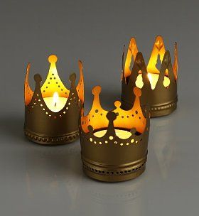 Three Crowns Tea Lights by Marks & Spencer #Tea_Lights #Crowns #Party. Cute for Epiphany (3 kings), or feast of Christ the King, or Mary queen of heaven