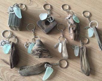 Driftwood Sea Glass KeyRing Handmade from Isle of Wight Beaches Natuical Gift Idea Beach Love Key Chain Fob Wedding Favors #seaglassjewelry #fakeseaglass