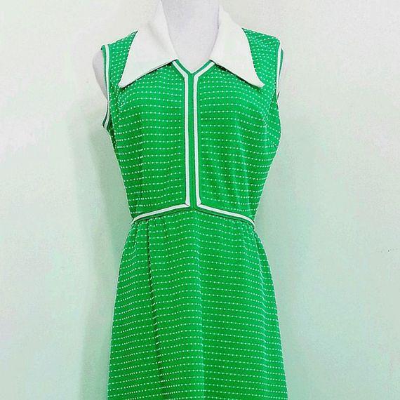 Simply Fab 1970s Bright Green Maxi Dress