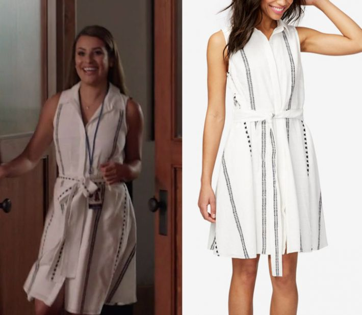 """by Kirsty0 Comments Valentina Barella (Lea Michele) wears this white striped sleeveless tie neck mini dress in this episode of The Mayor, """"Buyer's Remorse"""". It is the Rachel Roy Cotton Printed Shirtdress"""
